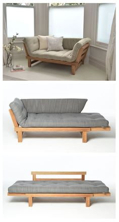 Multipurpose furniture is great for homes that are tight on space. And even if you have a bigger space available making an efficient use of it is always a great idea. We thought of bringing you some smart sofa bed designs. Because, sofa beds are life Pallet Furniture, Bedroom Furniture, Home Furniture, Furniture Design, Furniture Ideas, Diy Bedroom, Futon Bedroom, Trendy Bedroom, Repurposed Furniture