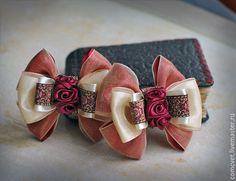 Ribbon Art, Fabric Ribbon, Ribbon Crafts, Flower Crafts, Ribbon Bows, Fabric Flowers, Satin Flowers, Baby Hair Clips, Baby Girl Headbands