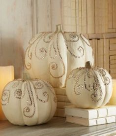 White pumpkins..... I'm doing these for sure they are similar to my pumpkins with the metal curlies but these wont rot as fast.  Beautiful!