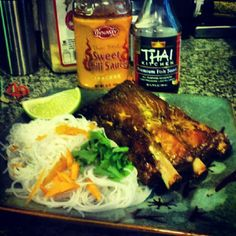 the final producto. thai style ribs with vermicelli noodles w/ chili sauce . brunch time ! come over, i've made plenty! - @djneilarmstrong- #webstagram