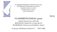 VLADIMIR FELTSMAN Recital  31 January 1998   92nd St Y   NEW YORK