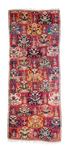 "Lesghi rug, published in Schürmann ""Caucasian Rugs"", 1990 plate 128, Caucasus dated by Schürmann 17th/18th century   Estimate: € 18,000 – 22,000  Sold €41,280"