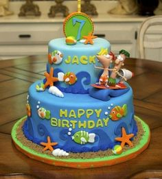Idea for Bday cake.Ocean Birthday Cake (Phineas and Ferb) Ocean Birthday Cakes, Unique Birthday Cakes, Birthday Parties, Birthday Ideas, 7th Birthday, Birthday Stuff, Kid Parties, Themed Parties, Cupcakes