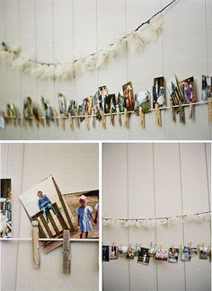 diy clothespin photo line - soooo doing this iN THE SPARE