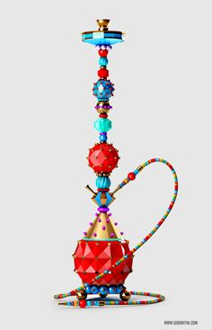 Colorful hookah that is just too pretty to smoke out of.