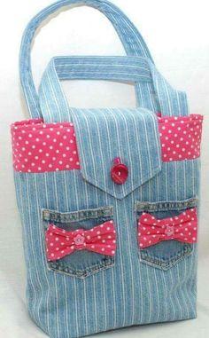 Denim tote/handbag by GorgeousAgaindotcom on Etsy, Denim Purse, Tote Purse, Patchwork Bags, Quilted Bag, Bag Quilt, Denim Crafts, Recycled Denim, Fabric Bags, Handmade Bags