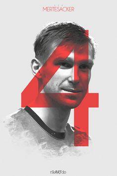 The Gunners - Mertesacker Arsenal Fc, Arsenal Soccer, Arsenal Players, Soccer Art, Soccer Poster, Arsenal Pictures, Dennis Bergkamp, Sports Graphics, Soccer World