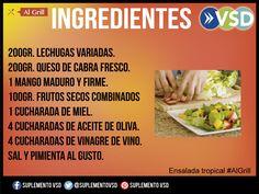 Los ingredientes para preparar una deliciosa ensalada tropical para acompañar tu parrilla, aquí en #algrill.