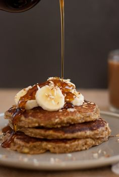 Banana oat pancakes -- seriously, the best pancakes!  They taste like banana bread.  Used flax eggs instead of the whole eggs.  Gluten free, dairy free, no refined sugar... No need for syrup either!  So good!
