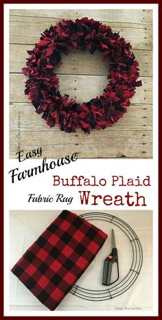 Vintage Paint and more. Easy Farmhouse Buffalo Plaid fabric rag wreath made with three items can be done in one afternoon Vintage Paint and more. Easy Farmhouse Buffalo Plaid fabric rag wreath made with three items can be done in one afternoon Wreath Crafts, Diy Wreath, Christmas Projects, Door Wreaths, Holiday Crafts, Rag Wreaths, Wreath Ideas, Wreath Making, Holiday Wreaths