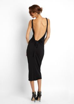 ANAMA Deep Open Back Midi Dress