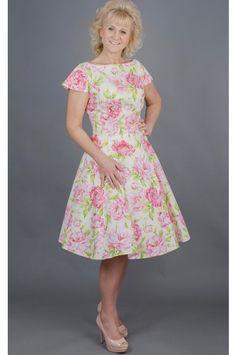 Dílové pivoňkové šaty LAURA šaty mají kulatý výstrih a kratší rukávky  klasický princess střih s rozšířenou cd298f4532