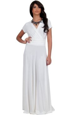Fantastic white maxi dress. This is a flattering dress for all body types. Get the look at www.whitepartydressonline.com!