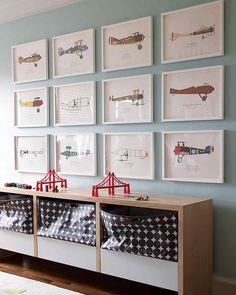 pokój chłopca | galeria ścienna + samoloty
