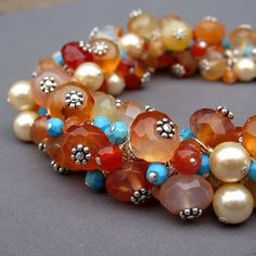 Gemstone Cluster Bracelet with Carnelian by clairannadesigns, $128.00