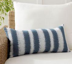 Sunbrella(R) Addax Striped Indoor/Outdoor Lumbar Pillow, 12 x Blue Multi Sunbrella Pillows, Outdoor Cushions And Pillows, Outdoor Pillow, Diy Pillows, Outdoor Fabric, Indoor Outdoor, Outdoor Art, Outdoor Living, Innovation Design