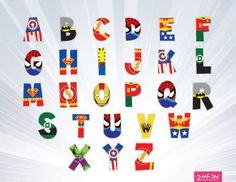 SUPERHERO Alphabet PNG  - super font - Super hero Movie Inspired Alphabet Clipart, Printable Lego Movie Letters - clipart, Invitations