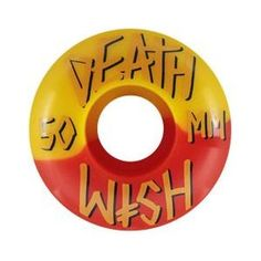 DEATHWISH WHEELS STACKED 50/50 YEL/RED 50MM @ http://yourskateboardstore.com #skateboard