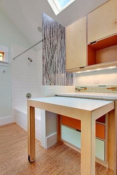 Can I please have this in my laundry AND craft room? CF laundry station modern laundry room.