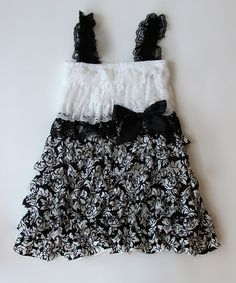 Take a look at this Black & White Damask Lace Ruffle Dress - Infant, Toddler & Girls by Under The Hooded Towels on #zulily today!