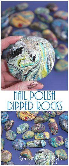 Painted Rocks -Nail Polish Dipped Rocks - Keeping it Simple Crafts