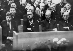 President Kennedy, Vice-President Johnson, ex-President Eisenhower, and ex-President Truman at Sam Rayburn's funeral. (Sam Rayburn was a Democratic lawmaker from Bonham, Texas, who served as the Speaker of the U.S. House of Representatives for 17 years, the longest tenure in U.S. history.)