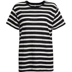 R13 Boy & Stripes Tee - Stripe (325 CAD) ❤ liked on Polyvore featuring tops, t-shirts, shirts, tees, stripe, black shirt, striped shirt, loose fit t shirts, leather t-shirt and black t shirt