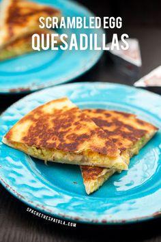 Creamy, cheesy scrambled eggs stuffed inside a crisp, golden brown tortilla! | spachethespatula.com #recipe