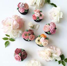 Korean flower buttercream cupcakes