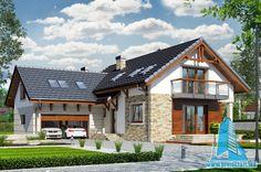 Proiect de Casa cu parter, mansarda si garaj pentru doua automobile – 100721 American Houses, Florida Style, Design Case, Mediterranean Style, Home Fashion, Modern Farmhouse, House Plans, Villa, Exterior