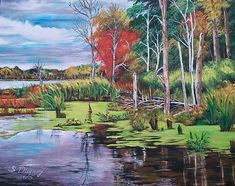 Norman Lake - painting by Sharon Duguay #normanlake #swamp #paintingsforsale
