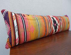14 X 48 Long Kilim Lumbar Pillow Cover,Handmade Bohemian Decor Kilim Bedding Pillows,Striped Long Bolster Bed Cushions,Boho Bed Cushion Bolster Cushions, Lumbar Pillow, Pillows, Bohemian Decor, Marrakech, Zen, Condo, Bedding, Textiles