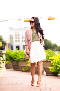 cute & little | petite fashion blog | pink blush cascade blazer, olive blouse, white scallop skirt, louboutin so kate pumps | fall outfit