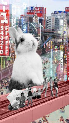 overlapping: het konijn valt voor de gebouwen, waardoor je een deel van die gebouwen niet kunt zien.