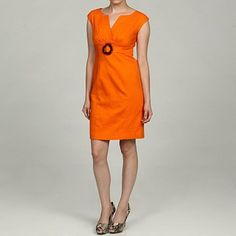 Shop for Eliza J Women's Petite Orange Belted Dress. Get free delivery On EVERYTHING* Overstock - Your Online Women's Clothing Destination! Nice Dresses, Casual Dresses, Dresses For Work, Summer Dresses, Tangerine Dress, Orange Dress, Belted Dress, Dress Me Up, My Style