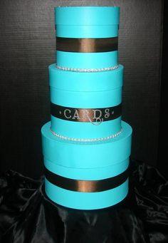 Tiffany Blue and Chocolate Brown DIY Cardbox :  wedding blue brown cardbox chocolate brown diy tiffany blue Wedding Cardbox