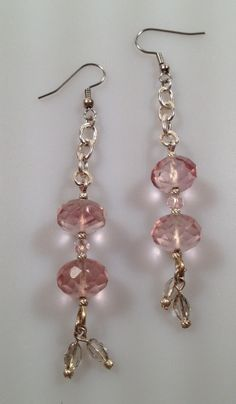 IBA Pink Ice Faceted Glass and Chain Earrings by InspiredByAmber, $14.95