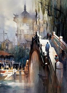 Bridge - China - Watercolor by Thomas Schaller Watercolor Artists, Watercolor Techniques, Watercolor Illustration, Watercolour Painting, Watercolors, Painting Techniques, Watercolor Architecture, Watercolor Landscape, Art And Architecture