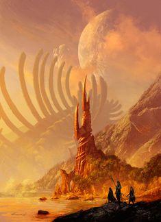 Fantasy concept art - totally epic illustrations by michael kormack Fantasy Artwork, Fantasy Concept Art, Fantasy Art Landscapes, Fantasy Landscape, Landscape Art, Desert Landscape, Digital Art Fantasy, Concept Art World, High Fantasy