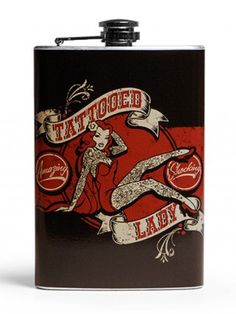 Tattooed Lady Flask by Retro-A-Go-Go!