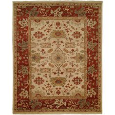 Meridian Rugmakers Hidd Hand-Knotted Ivory/Rust Area Rug Rug Size: 6' x 9'