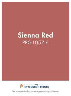 Sienna Red PPG1-57-6 from PPG Pittsburgh Paints. Red paint colors are for a certain personality – one that is energetic, powerful and bold. Try this shade of red paint to add personality to your space.