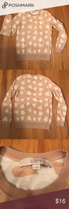 Loft Heart Sweater Good condition. Cream color with white hearts. Size medium LOFT Sweaters Crew & Scoop Necks