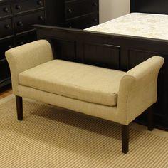 Settee Storage Bench Tan Velvet Tufted Upholstered Seat Parlor ...