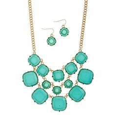 Square Bubble Necklace and Earring Set