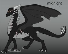 Name: Midnight. Gender: male. Age: 15 years. Personality: frightened easily, kind to others, loves to read, not the most humorous dragon. Appearance: Black scales, gray underbelly, spikes along neck, some scares.