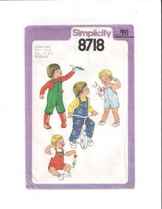 Simplicity 8718 Pattern for Toddlers' Overalls in 2 Length, From 1978, Size 1/2 & 1, Vintage Pattern, Home Sewing, 1978 Child Fashion Sewing by VictorianWardrobe on Etsy