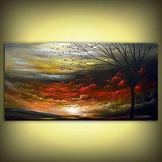 ORIGINAL  Landscape painting large painting tree by mattsart, $350.00