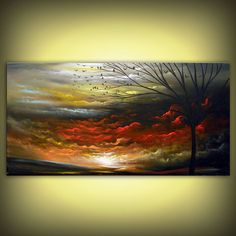 ORIGINAL  Landscape painting large painting tree by mattsart, $350.00