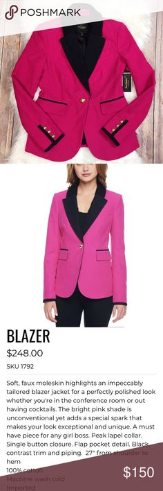 "HP 11/22! Juicy Couture | NWT Moleskin Blazer 0 NWT Juicy Couture heartbreaker faux moleskin blazer. Hot pink! Single button closure & two waist flap pockets. Gold toned buttons. Black trim & piping. 100% cotton shell. Thick, awesome quality. Black acetate lining. Size 0. Measurements: armpit to armpit 16"", length 24.5"", sleeve length from shoulder 24"". Form fitting, gorgeous, #girlboss jacket! Offers & bundles welcome. Juicy Couture Jackets & Coats Blazers"